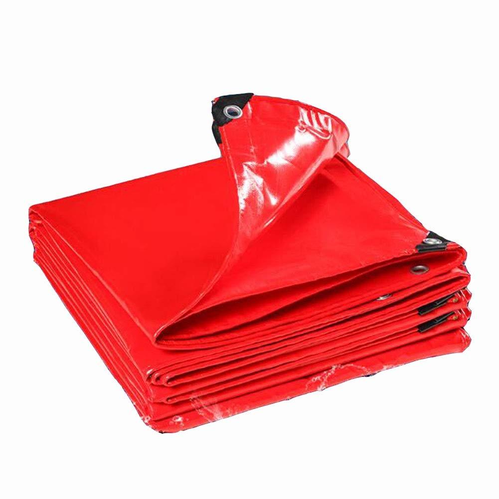 DALL ターポリン PVCコーティング ヘビーデューティ 防水 引裂抵抗 雨の布 アウトドア 保護カバー 耐摩耗性 (Color : 赤, Size : 5×6m) 赤 5×6m