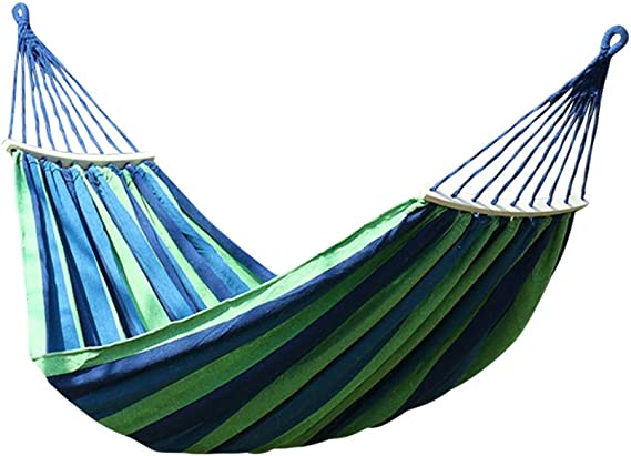 BIGMALL Comfort Durability Striped 2-Person Double Hammock Large Hammock Bed for Indoor Outdoor