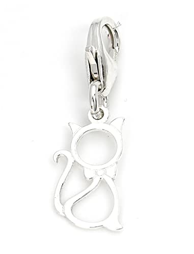 925 STERLING SILVER SMAL CAT CLIP ON CHARM FOR EUROPEAN BRACELET A5C