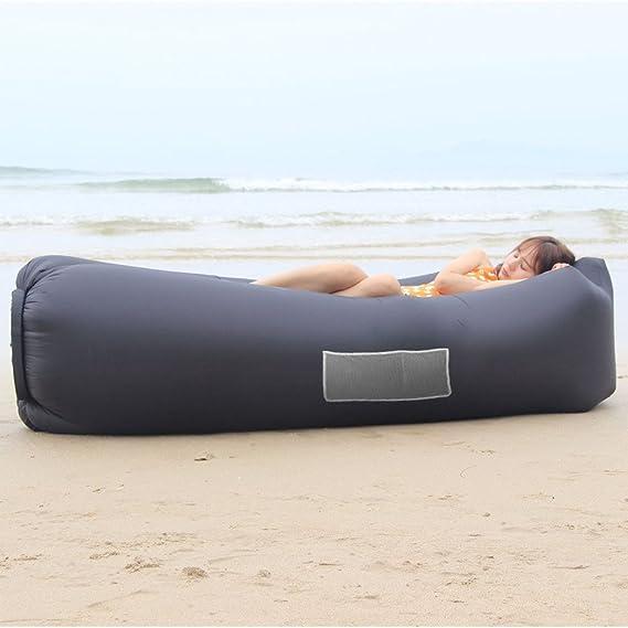 Home-Neat Lazy bag laybag saco de dormir rápido aire inflable camping playa de dormir sofá cama salón de cuadrado bolsa aire cama tumbona, negro: Amazon.es: ...