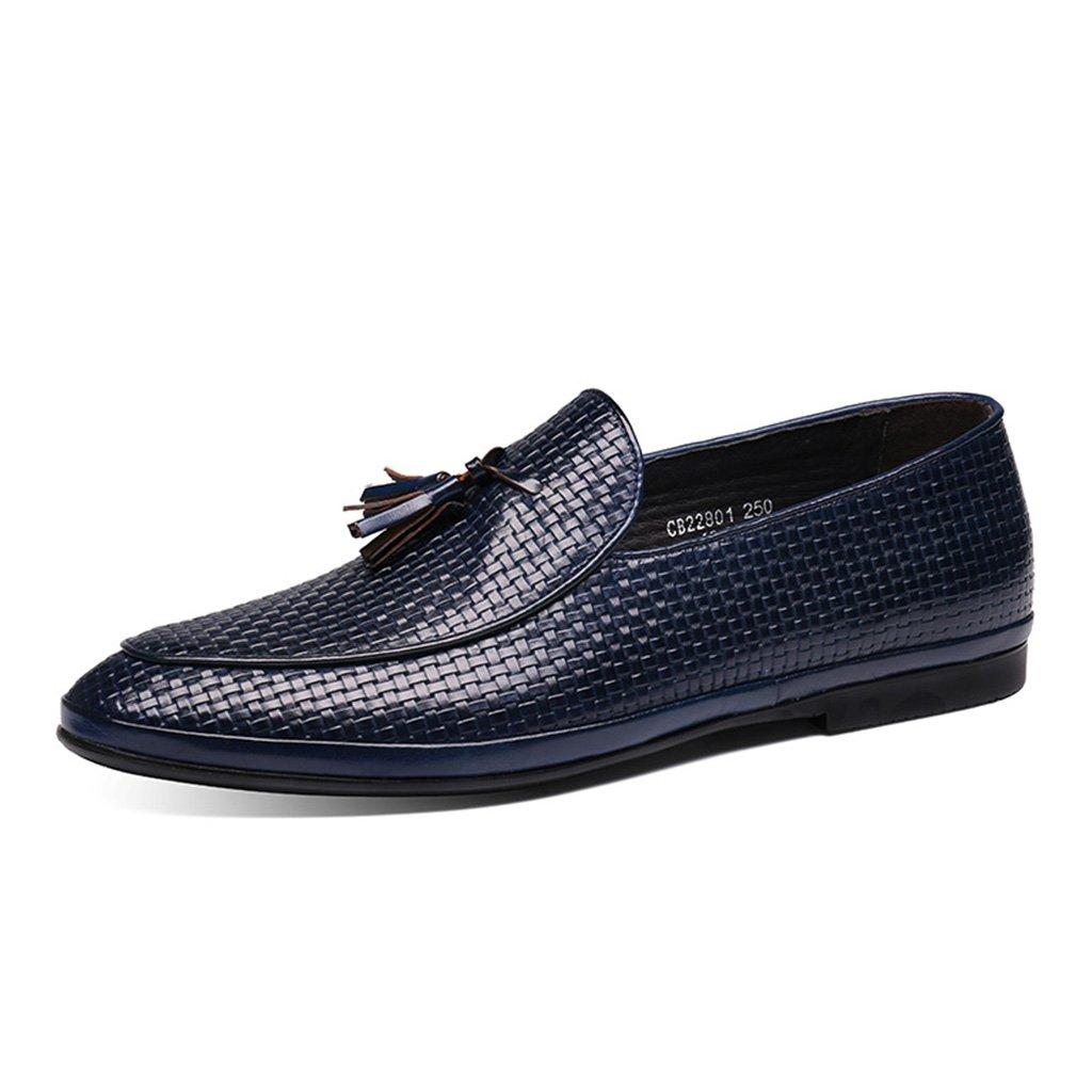 Zapatos Clásicos de Piel para Hombre Zapatos de Cuero de los Hombres de Primavera Zapatos Casual Borla Estilo Británico Tumbona (Color : Azul, Tamaño : EU42/UK7.5) EU42/UK7.5|Azul