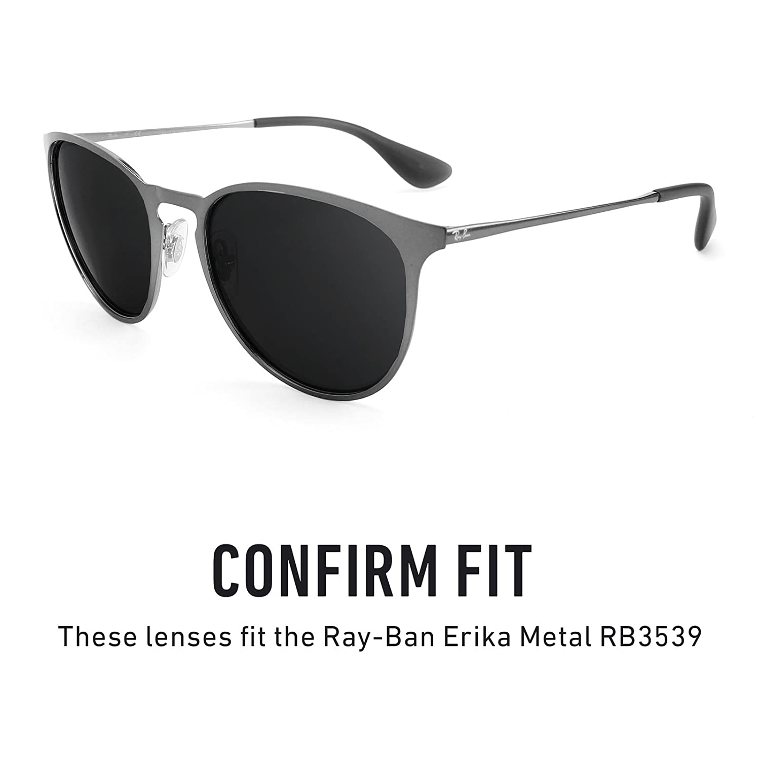 f46836ec629 Amazon.com  Revant Polarized Replacement Lenses for Ray-Ban Erika Metal  RB3539 Elite Black Chrome MirrorShield  Sports   Outdoors