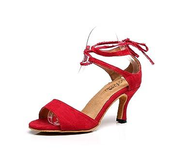 JSHOE Frauen Latin Salsa Tanzschuhe/Tango/Tee/Samba/Modern/Jazz Schuhe Sandalen High HeelsRed-heeled5cm-UK7/EU41
