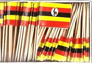 Uganda Mini Country Toothpick Flags, 100 Small International Mini Flag Cupcake Toothpicks or Cocktail Sticks & Picks (Uganda, 1 Box of 100-100 Total Toothpicks)