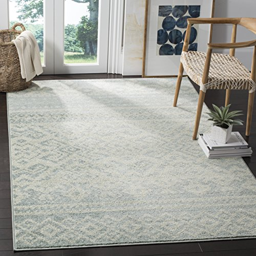 Safavieh Adirondack Collection ADR107T Slate and Ivory Rustic Bohemian Square Area Rug (6' Square)
