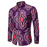Mens Shirts Clearance vermers Man Nation Fashion Printed Blouse Casual Long Sleeve Slim Button Down Shirts Tops(2XL, Purple)