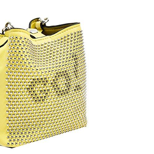 Yy.f Bolsos Modelos De Explosión De La Marea Exposición Actitud Fría Remaches Macizos Decorativa Pequeña Bolsa De Cubo Bolso Del Remache Yellow