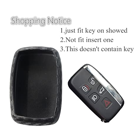 2Pack Silicone Carbon Fiber Pattern car Key case Cover Keychain for Smart Jaguar XE XJ XJL XF F-Type Accessories fob Shell Key Bag