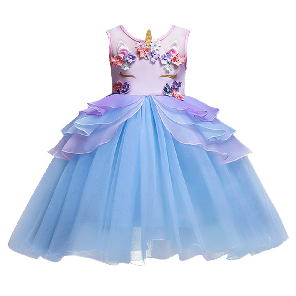 Kids Girls Flower Tulle Birthday Unicorn Costume Cosplay Princess Pageant Tutu Dress up Headband Party Outfits Evening Gown Y# Blue 6-7 Years