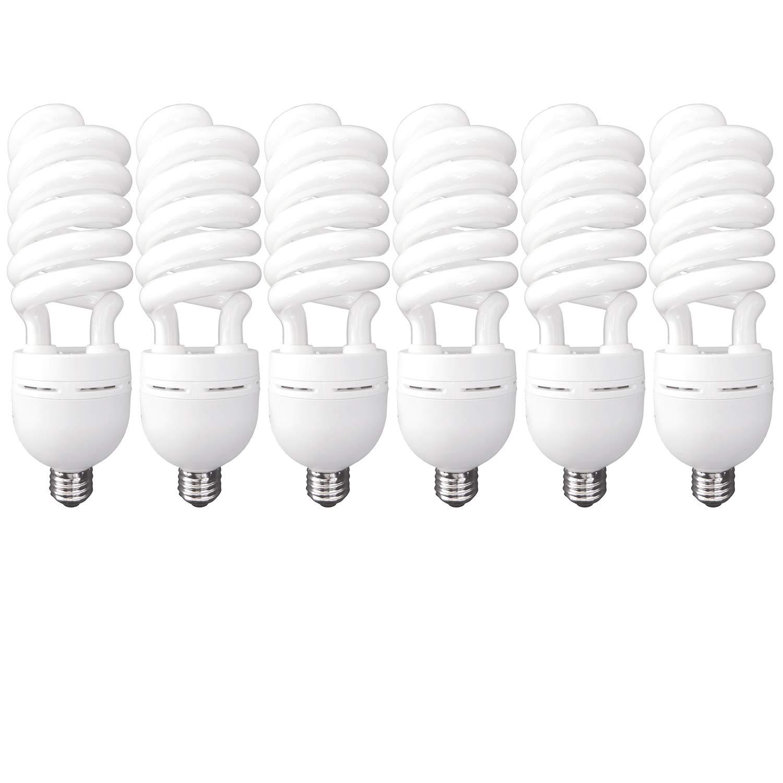 Luxrite LR20223 (6-Pack) 85-Watt High Wattage CFL Spiral Light Bulb, Equivalent to 350W Incandescent, Daylight 6500K, 5150 Lumens, E26 Standard Base
