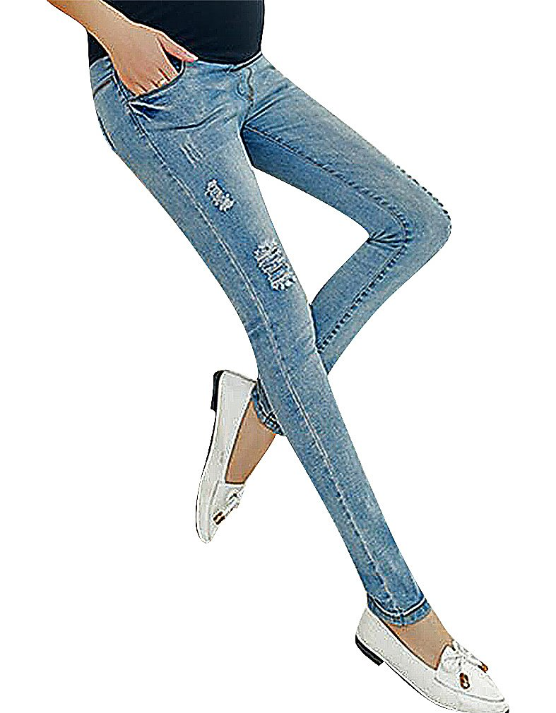 US&R, Women's Eclectic Styles Rip Detail Secret Fit Belly Maternity Skinny Jeans, Hole 6 ,Manufacturer(L)