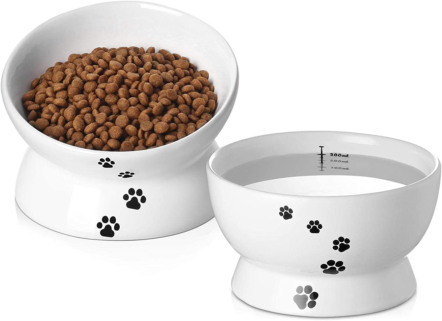 Y YHY Raised Cat Food and Water Bowl Set, Tilted Elevated Cat Food Bowls No Spill, Ceramic Cat Food Feeder Bowl Collection, Pet Bowl for Flat-Faced Cats and Small Dogs, Set of 2, White