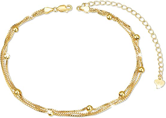 Sparkly Double Layer 925 Sterling Silver Beaded Chain Anklet Women Foot Jewelry