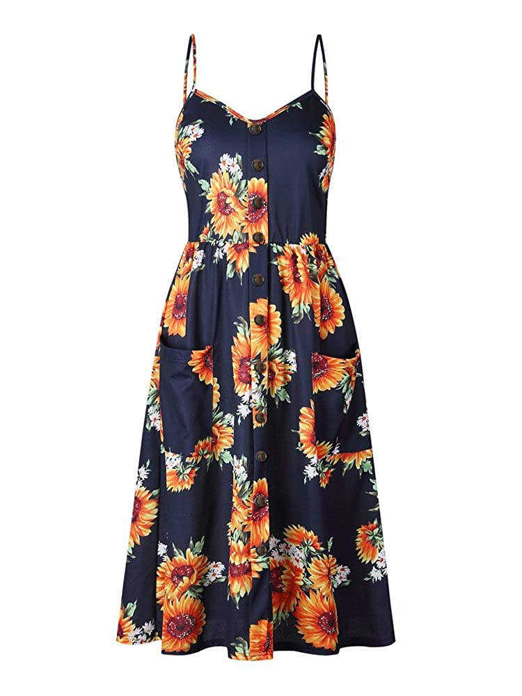OCHENAT Women's Floral Adjustable Strap Button Front Swing Midi Dress with Pockets