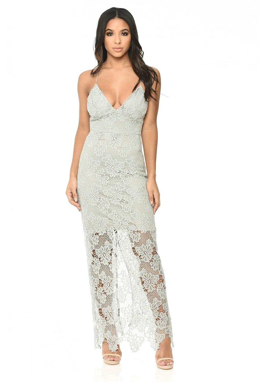 c8edbeb7bb AX Paris Women's Blush Lace Maxi Dress at Amazon Women's Clothing store: