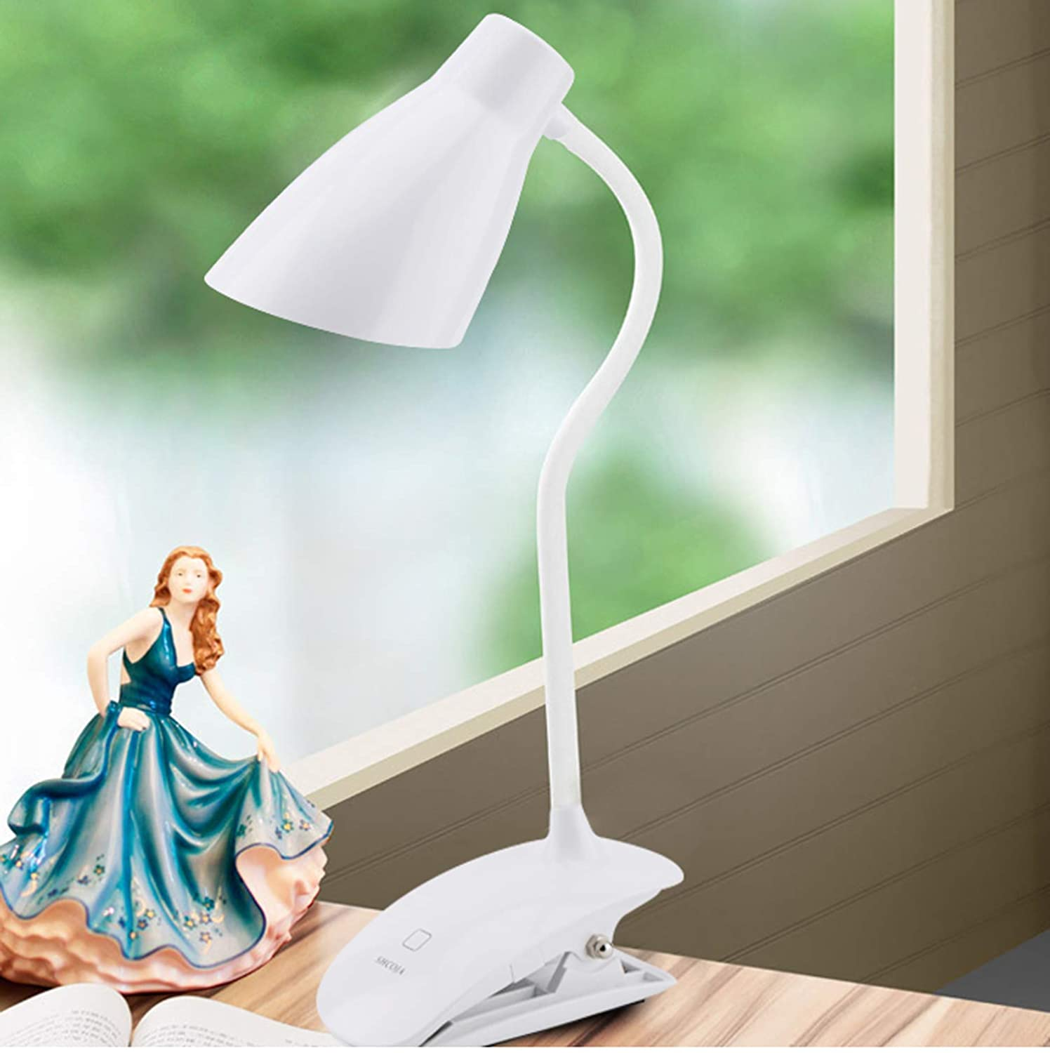 LED Clip on Light, Clip Lamp with 3-Level Dimmer/Touch Switch for Desk,Table,Bed,Headboard,Computer, 5500-6000k Adjustable Rechargeable Reading Book lamp for Bookworms & Kids & Students,White-4 SHCOJA