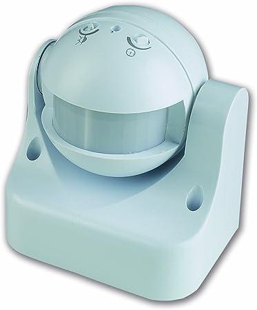 Detector de presencia sensor de movimiento, relé y minutero, IP44, color blanco: Amazon.es: Bricolaje y herramientas