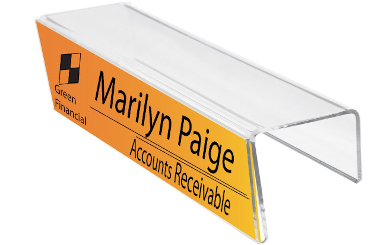 Plastic Products Mfg Single-Sided Cubicle Name Plate Holder 8-1/2'' wide x 2-1/2'' high x 3'' deep - PNH085025030 (40 Pack) by Plastic Products Mfg