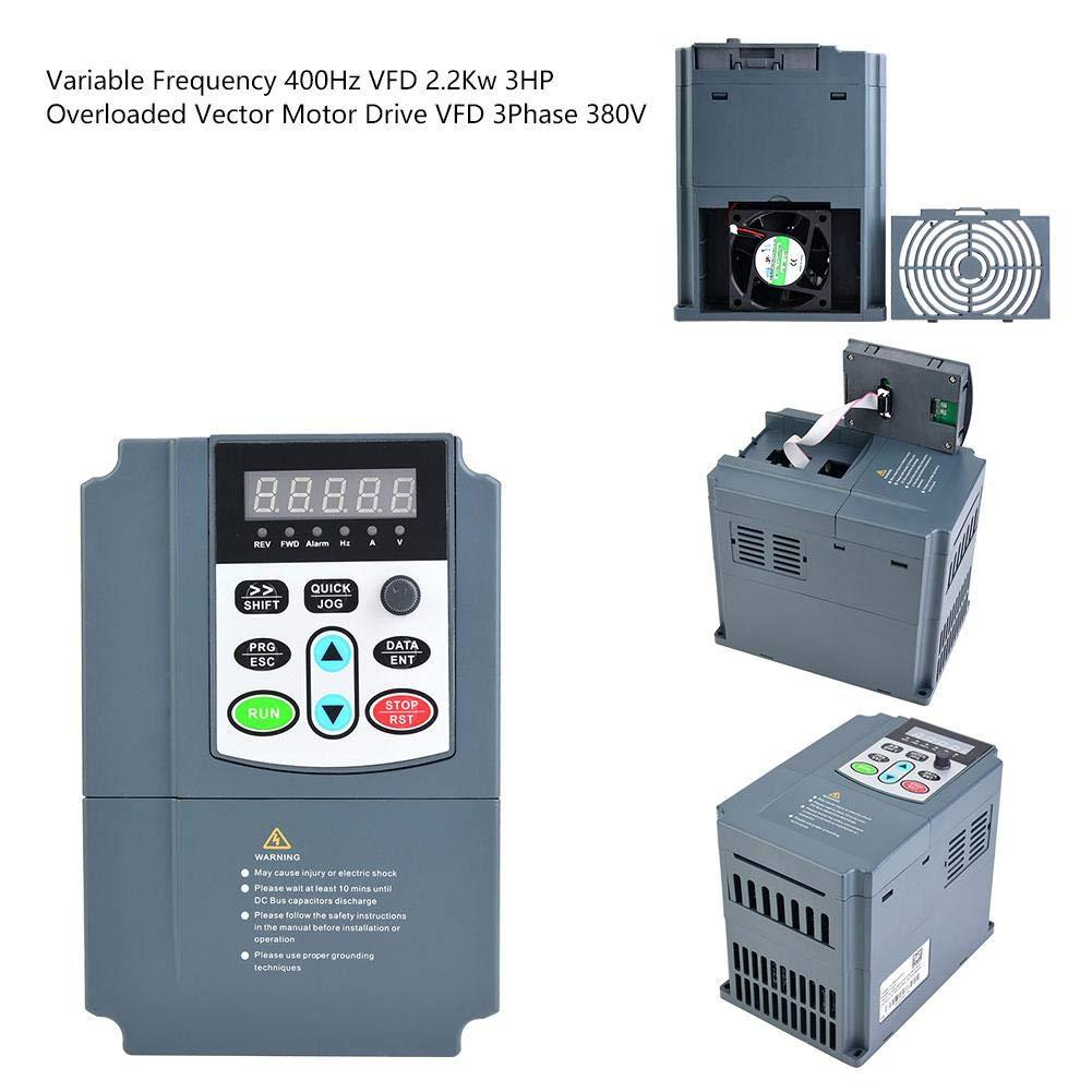 オーバーロードされたベクトルモータードライブVFD 3Phase 380V、可変周波数、400Hz VFD 2.2KW 3HP、VFD可変周波数ドライブ、インバーター、速度コントローラー