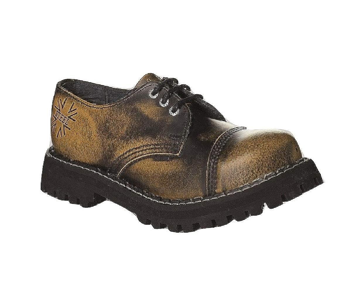Steel Militärische Schuhe Unisex Herren Damen Leder 3 Gelb Verwaschene Schwarz 3 Leder Ösen Army Punk Stahlkappe 3c8a2f