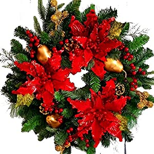 Poinsettia Christmas Wreath - 21 inch Decorated Front Door Wreath - Red Green Gold 24