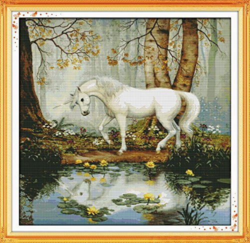 Happy Forever Cross Stitch, animals, unicorn garden