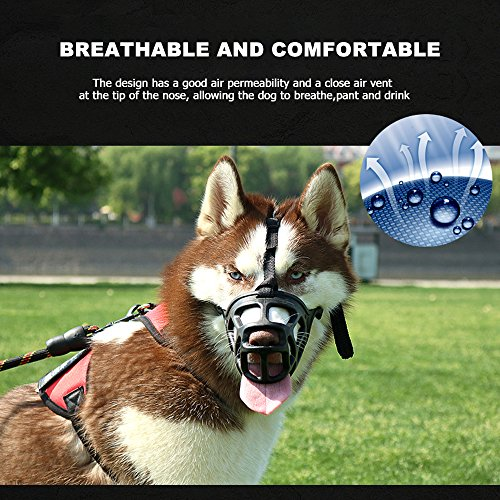 SHUNAI-Dog-Muzzle-Rubber-Basket-Muzzles-for-SmallMediumLargeExtra-Large-Dogs-Adjustable-and-Breathable-Design-Stops-Biting-Barking-and-Aggressive-Dogs