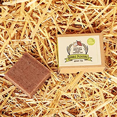 BubblePleasure 100% Organic & Natural Soap Best Pure Cocoa with Wheat Bran Soap Bar for men, women, kids. Handmade organic soap for skin, face, body, hands