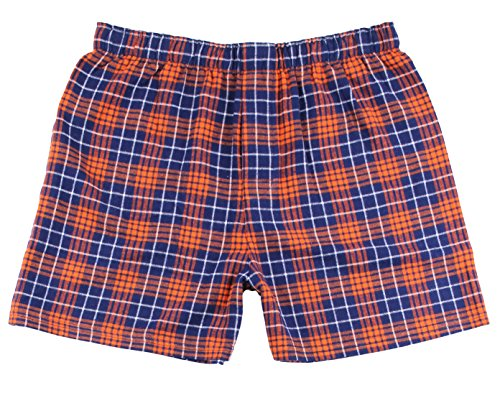 Boxercraft Cotton Flannel Plaid Boxer Sleep Shorts, M, Navy/Orange -UNISEX - Shorts Boxer Flannel