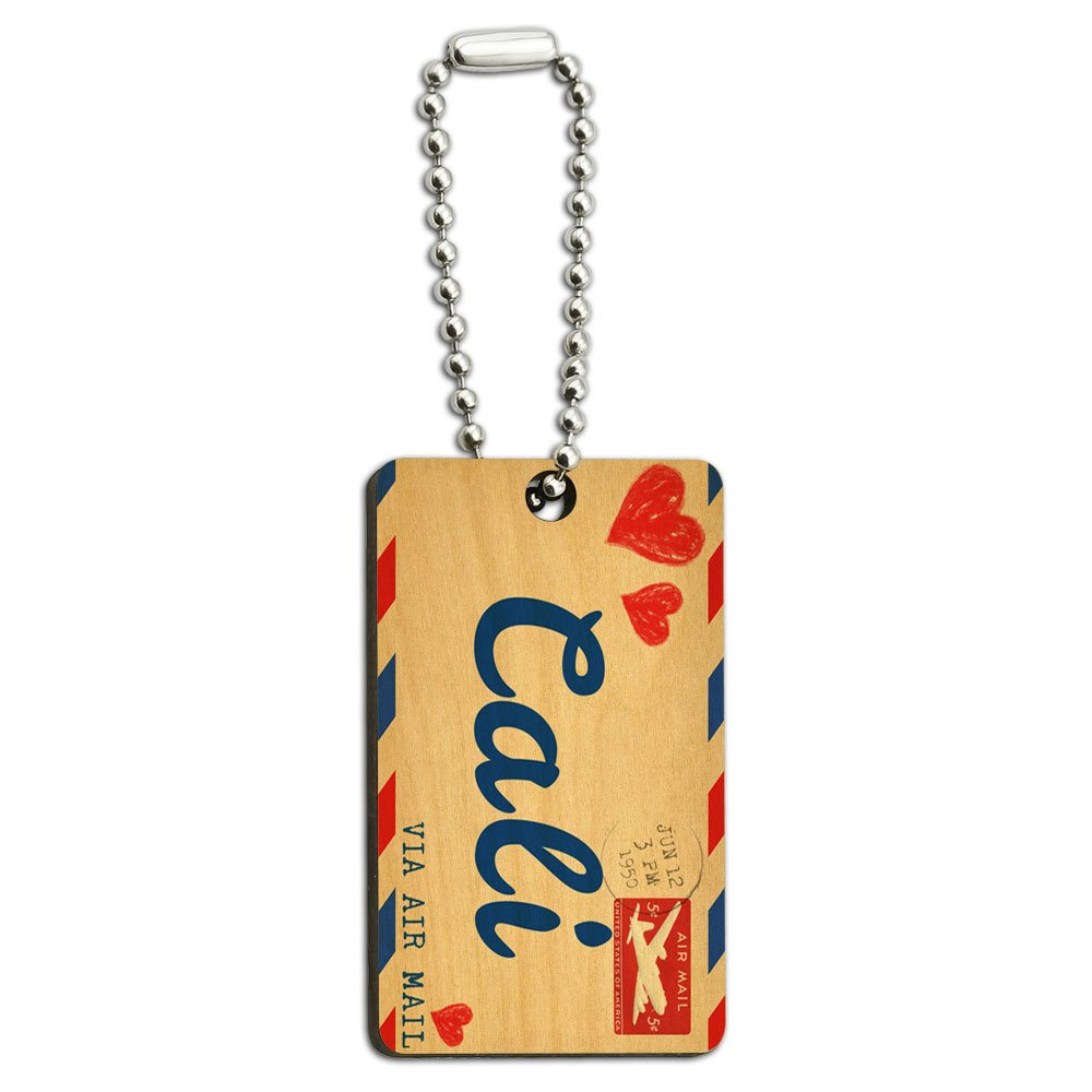 Graphics and More Air Mail Postcard Love for Cali Wood Wooden Rectangle Key Chain