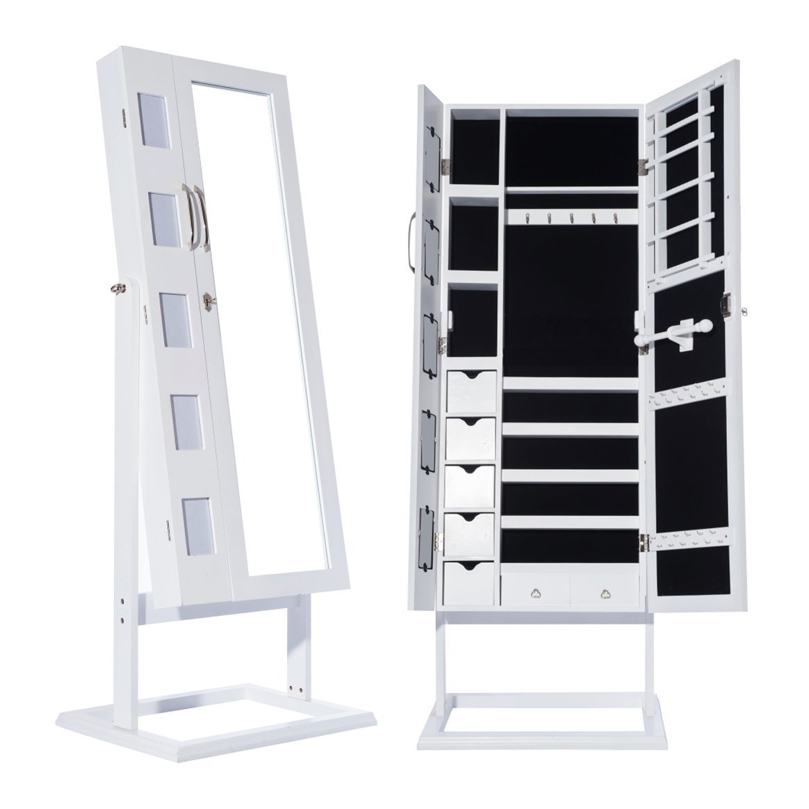 Topgoods 150 x 56 x 44 cm Abschließbar Weiß Spiegelschrank ...