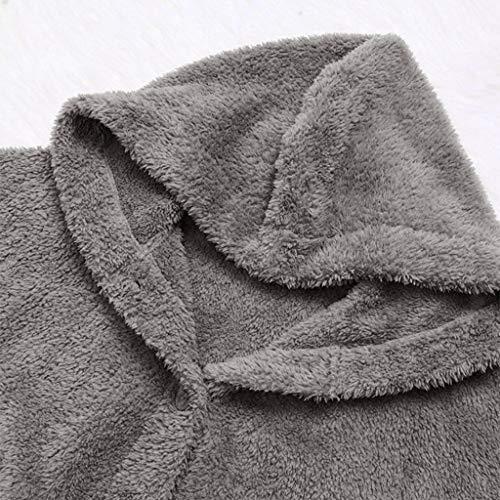Femmes Pull Bouton Queues Gris À La Moelleuses De Mode Manteau Capuche Huamore Vrac En RXqqw6