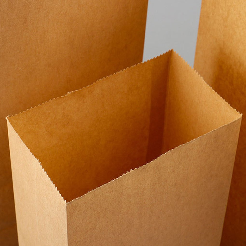 MuLuo 100pcs Kraft Paper Baking Oil-proof Takeaway Blank Food Packaging Bag Recyclable Jewelry Bread Shopping Party Bags by MuLuo (Image #3)