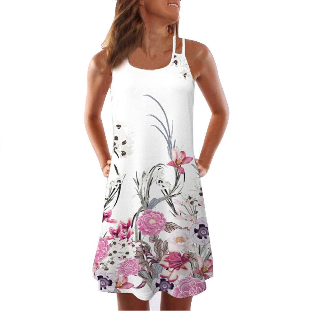 Winsummer Plus Size Dress,Womens Vintage Floral Printing Sleeveless Party Dress Summer Swing Tank Dress