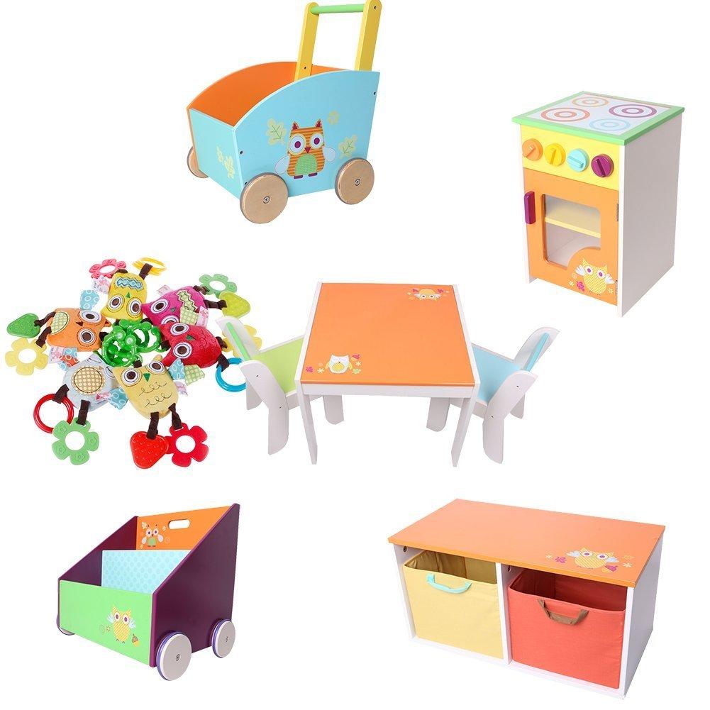 Labebe estantería para bebé naranja pino, 2 en 1, usar como andador, organizador de biblioteca de madera maciza robusta, regalo de cumpleaños creativo