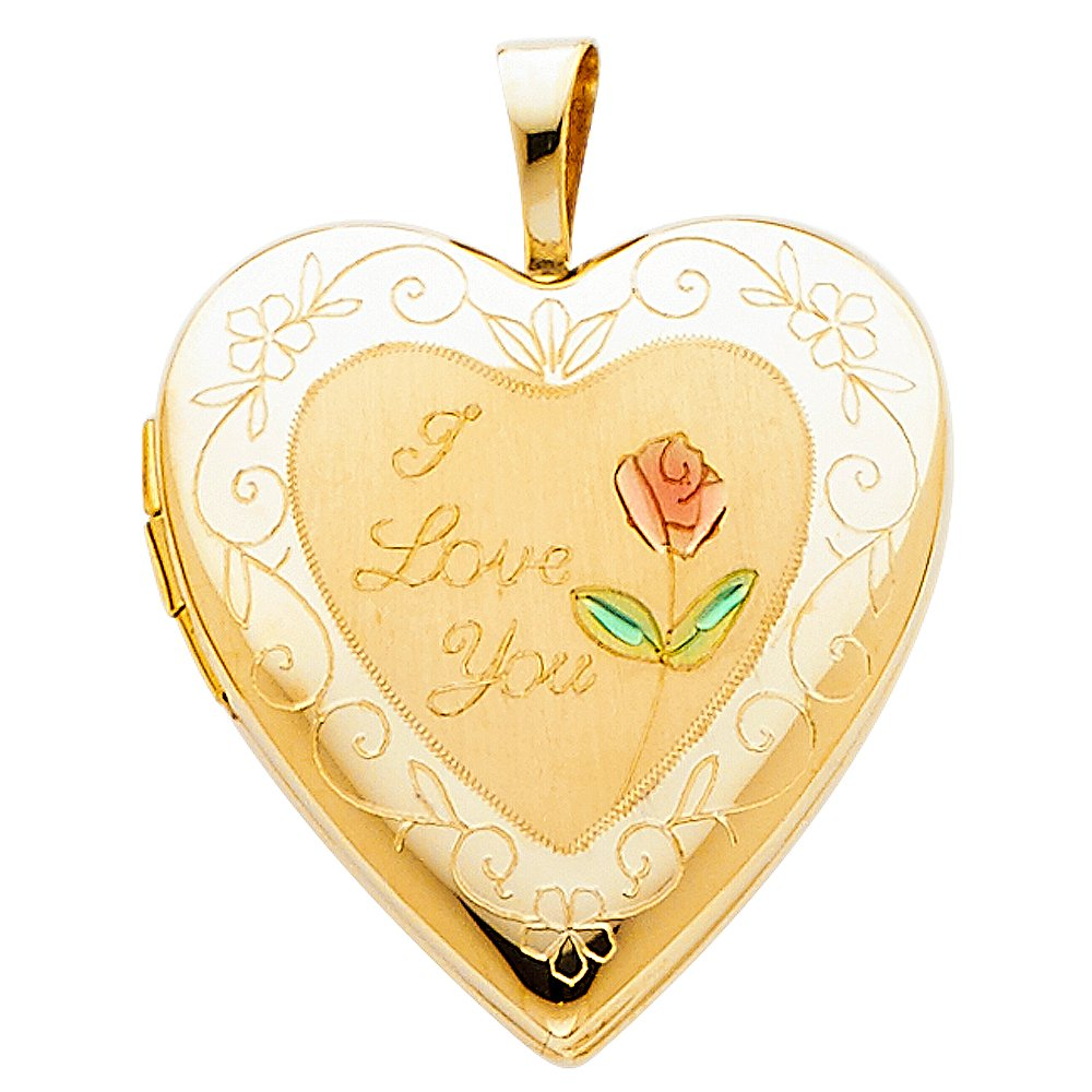 14k Yellow Gold Flower Enamel Engraved Heart ''I Love You'' Locket Pendant Charm