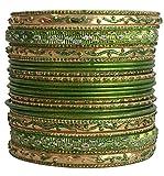 LaRaso & Co Set of Green Bangle Bracelets for Women