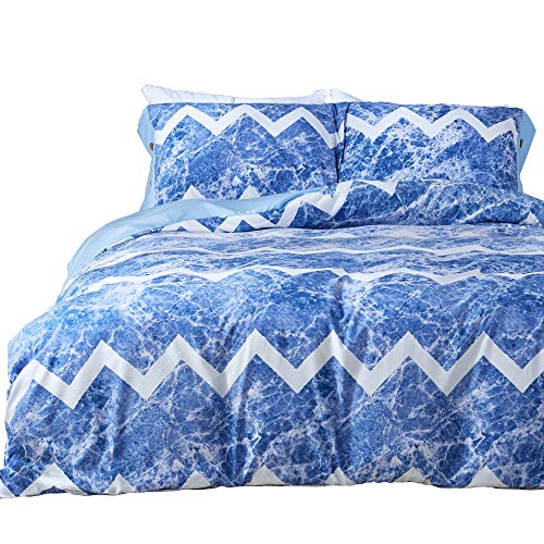 - JELLYMONI Blue and White Wave Duvet Cover Set, Floral Print Soft Microfiber Bedding Set with Zipper Closure. Blue on Reverse Twin Size(No Comforter)(1 Duvet Cover and 1 Pillowcase)