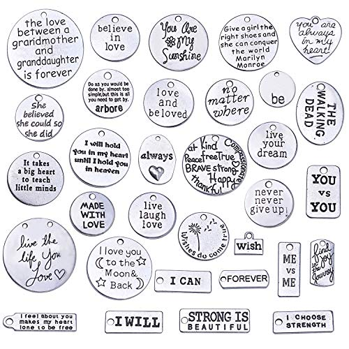 Jdesun 31 Pieces Inspiration Words Charms, Mixed Inspirational Message Charm Pendants for Crafting Necklace Bracelet