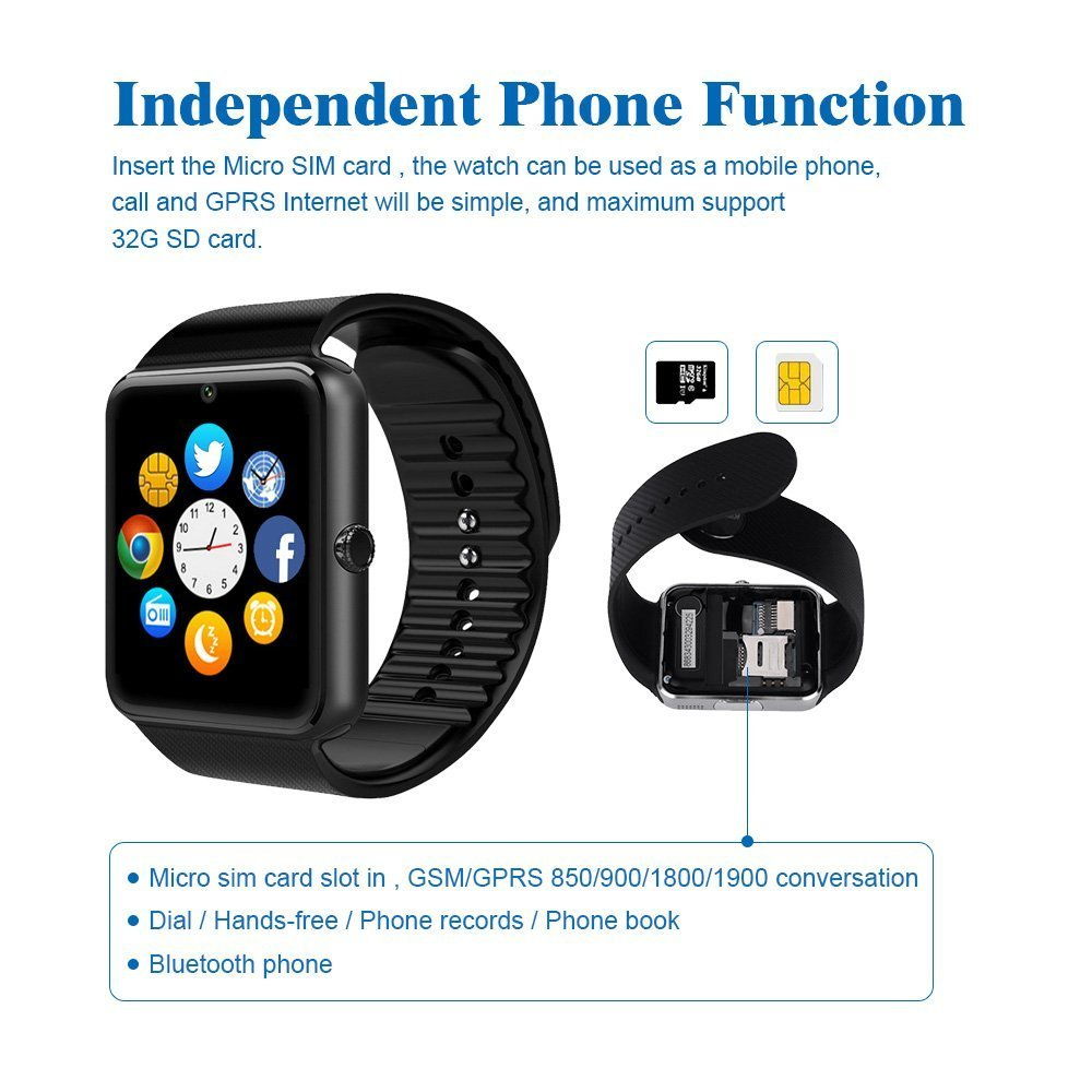 Smart Watch with SIM Card Slot for iPhone/Android Smartphones by Heshi Inc