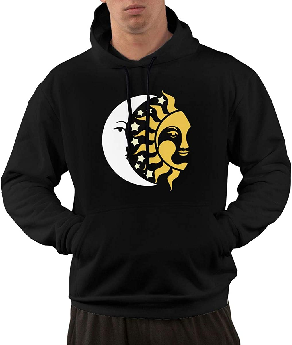 Sun Moon Stars Hoodie Mens Long Sleeve Athletic Sweatshirt