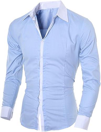 Camisas Botones Hombre De Vestir Regular Fit Casual Color Contraste De Manga Larga Slim Fit Negocio Formal Clásico Básica Blusa Tops: Amazon.es: Ropa y accesorios