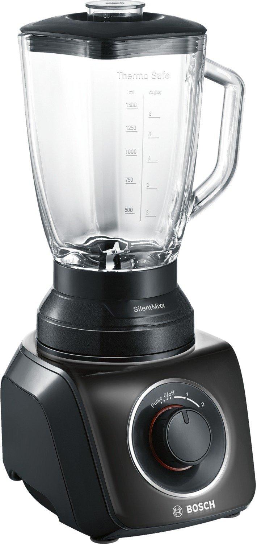 Bosch SilentMixx MMB42G0B - Batidora de vaso, 700 W, dos velocidades y función Pulse, cuchillas Easy KlickKnife, jarra termoresistente, color negro