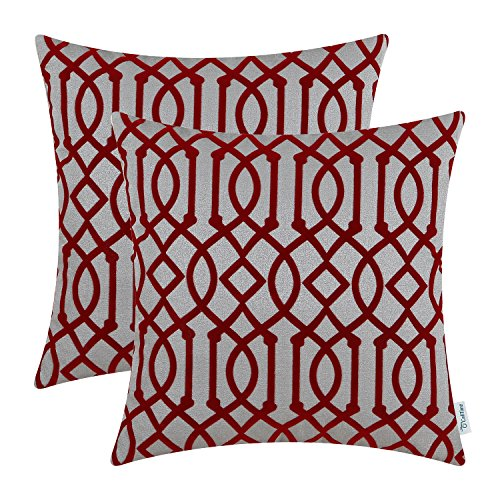 CaliTime Pack of 2 Throw Pillow Covers Cases for Couch Sofa Home Decoration 18 X 18 Inches Flocking Modern Geometric Trellis Chain Grey Deep Red