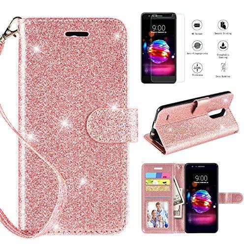 (CASEKEY LG K30 Case,LG K10 2018/LG Premier Pro LTE/Harmony 2/LG CV3 Prime/LG Xpression Plus/LG Phoenix Plus Case w Screen Protector, Kickstand Card Slot Wrist Strap Flip Leather Wallet Cover, Rosegold)