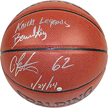 Image of Basketballs NBA New York Knicks Bernard King/Carmelo Anthony Dual Signed I/O Brown Basketball