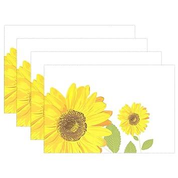 U vida elegante oro flores girasoles de grosor alfombrilla de la bandeja placa manteles individuales manteles ...