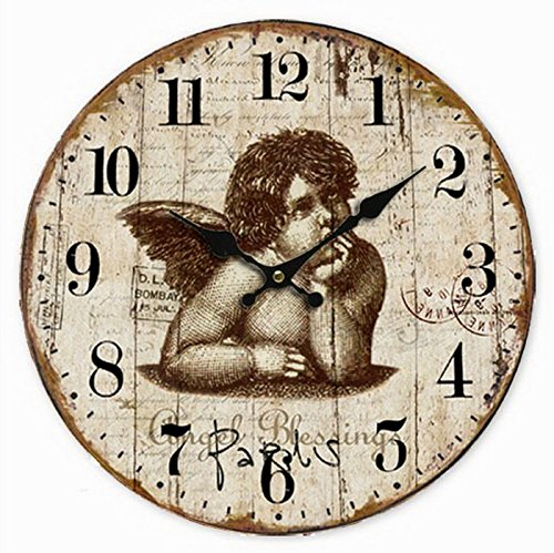Telisha Wooden Wall Clock Cupid Angel Shabby Brown Clock Retro Vintage Large Clock Home Decorative Country Non -Ticking Silent Quiet 14 Inch Gift
