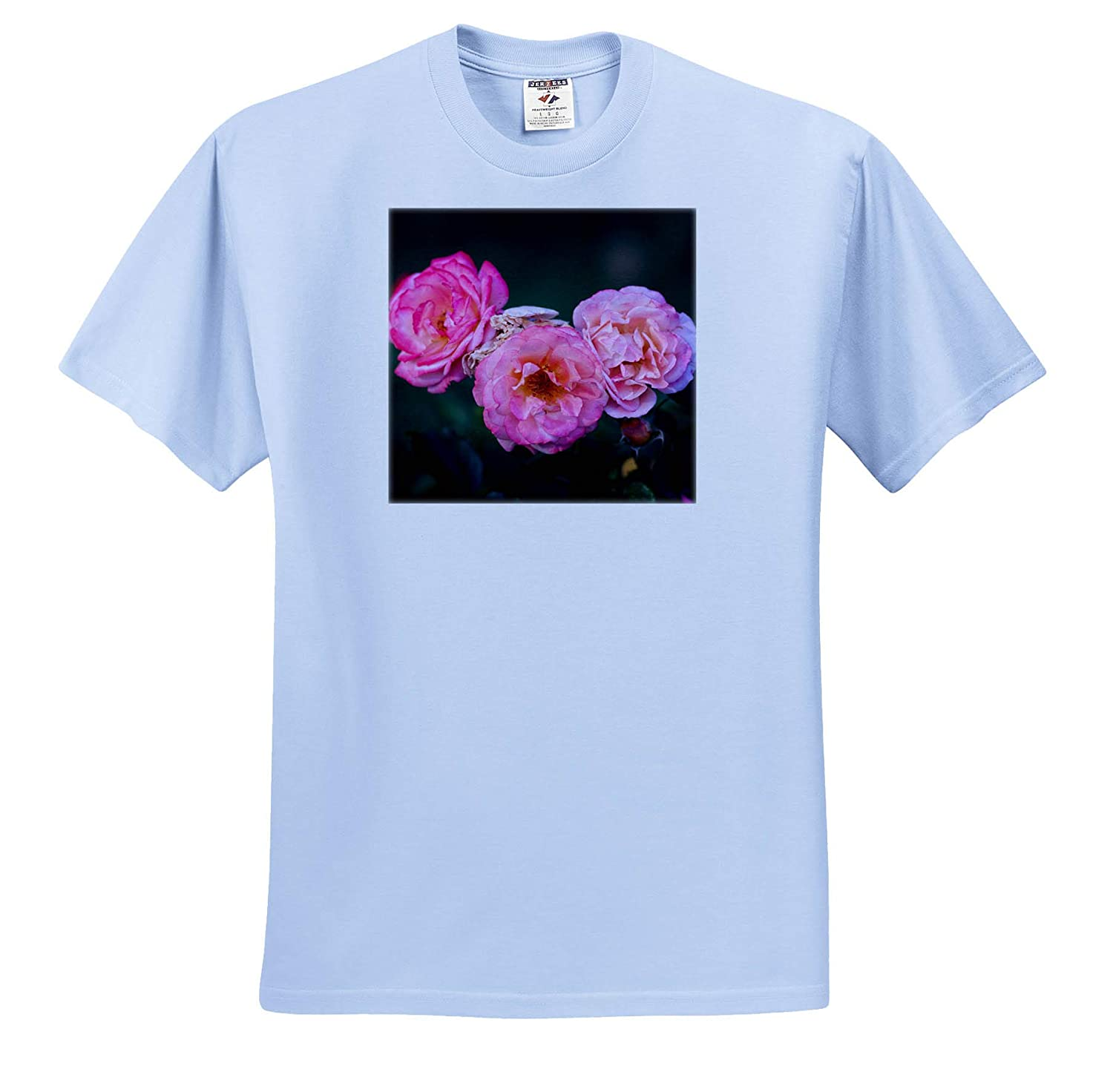 Three Pink Rose Flowers Flowers Rose T-Shirts Summer Shadows 3dRose Alexis Photography Dark Green Background