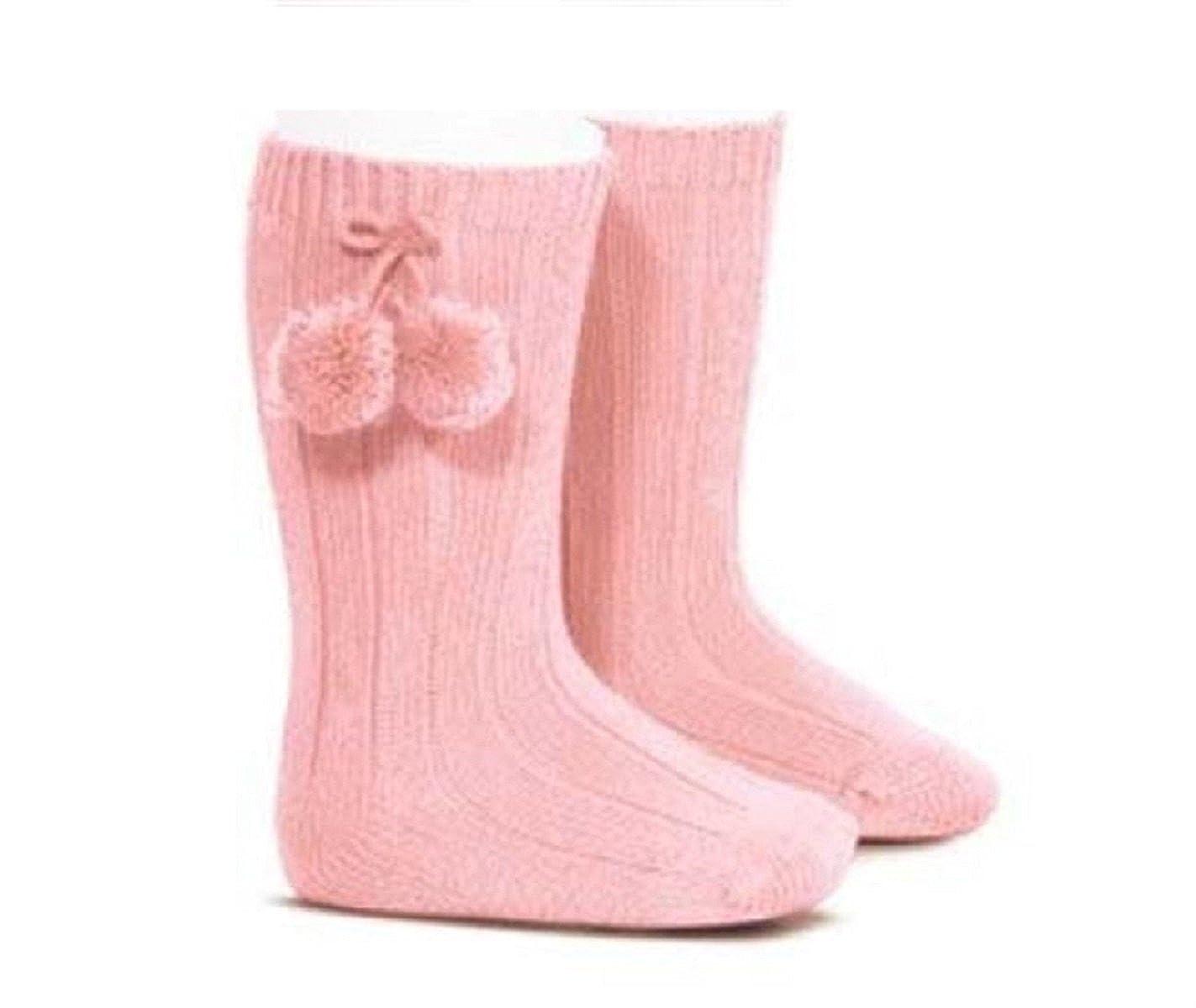 Baby Socks Pom Pom Spanish Romany Style Knee Socks WHITE